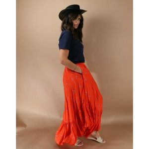 FREE PEOPLE Red Floral Print Ruffle Elastic Waist Midi Skirt Size S